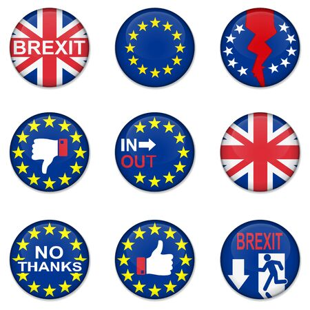 yes or no to euro: Brexit British referendum concepts with EU and UK flag on badges