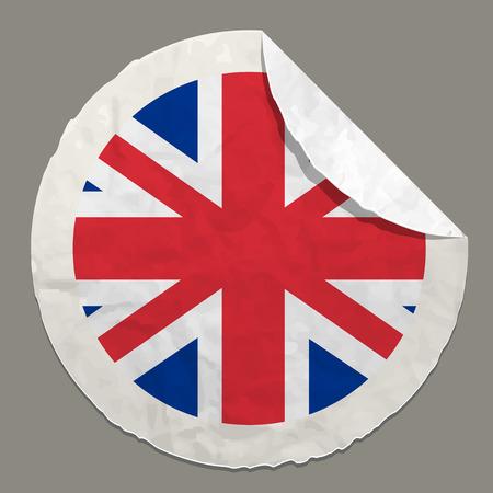 English flag symbol on a paper label