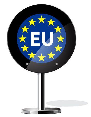 great depression: Brexit British referendum concepts, Europe flag on sign