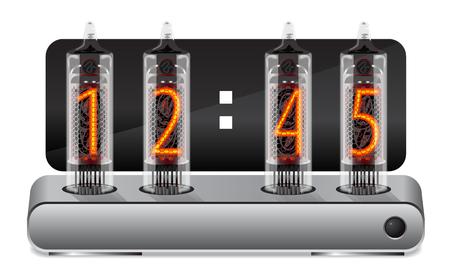 Clock with vintage vacuum tube display. Vector illustration Illustration
