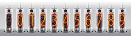 Cijfers op vintage vacuümbuis display. vector illustratie Stock Illustratie