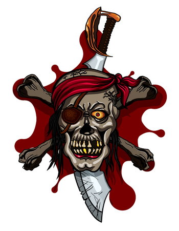 saber tooth: Pirate Skull in Red Headband with Cross Swords on bloodstain