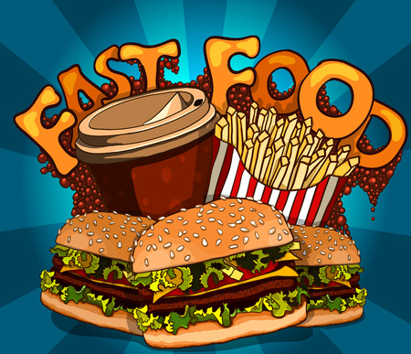 Group of fast food products. Vector background