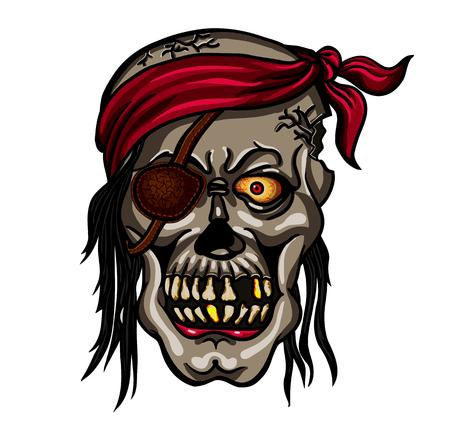 privateer: Danger pirate skull in bandane for tattoo or t-shirt design