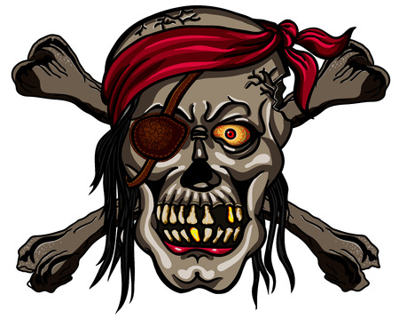 privateer: Danger pirate skull in bandanna and crossbones for tattoo or t-shirt design