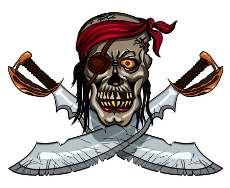 privateer: Danger pirate skull in bandanna and crossed swords for tattoo or t-shirt design