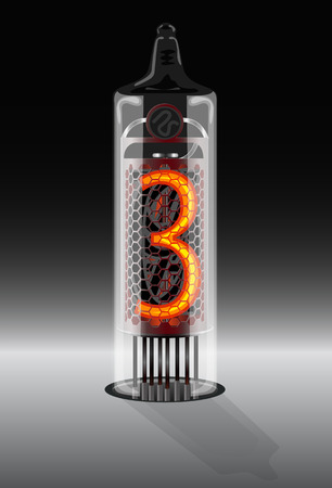 readout: Digits on vintage vacuum tube display. Vector illustration
