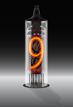 Digits on vintage vacuum tube display. Vector illustration