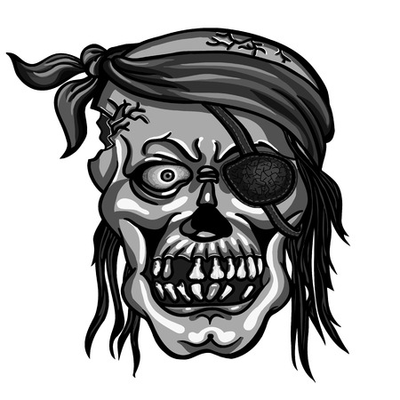 Danger pirate skull in bandanna without one eye for tattoo or t-shirt design
