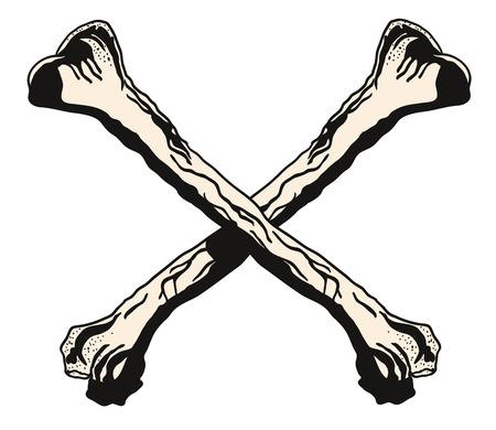 Vector crossbones illustration warning symbol for tattoo or t-shirt design