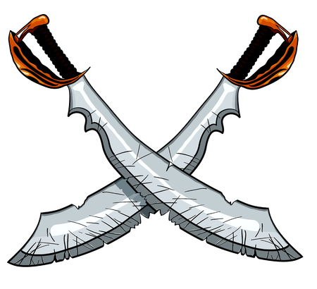 broad: Crossed cutlass pirate sword vector illustration for tattoo or t-shirt design