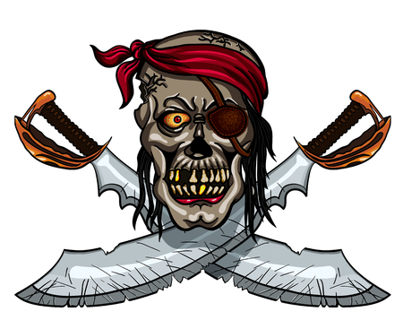 sable: Danger pirate skull in bandanna and crossed swords for tattoo or t-shirt design