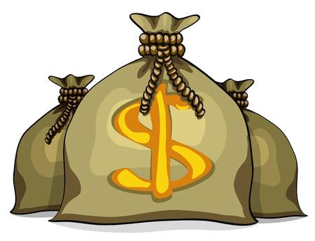 lucky bag: Cartoon full sacks with money. Vector illustration isolated on white background Illustration