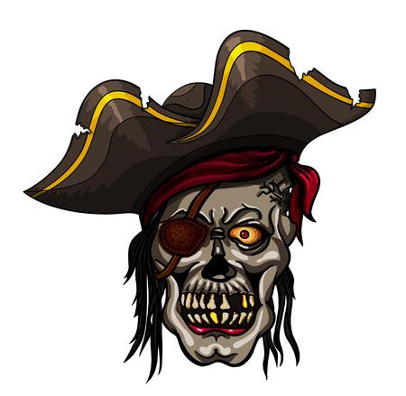 privateer: Danger pirate skull in bandanna for tattoo or t-shirt design Illustration