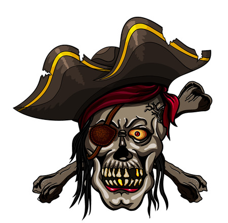 filibuster: Danger pirate skull in bandanna and crossbones for tattoo or t-shirt design