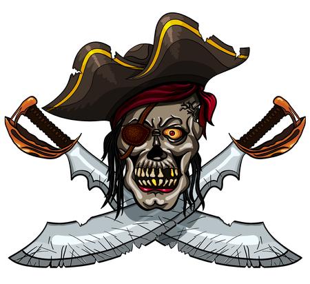 filibuster: Danger pirate skull in bandanna and crossed swords for tattoo or t-shirt design