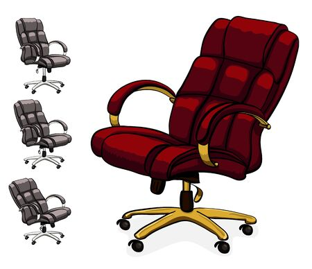 Office executive leather desk chair. Vector illustration isolated on white background Illustration