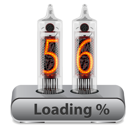 Loading Progress Indicator Interface on Vintage Vacuum Tube Display Concept