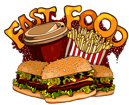 Group of fast food products. Vector illustration Illustration