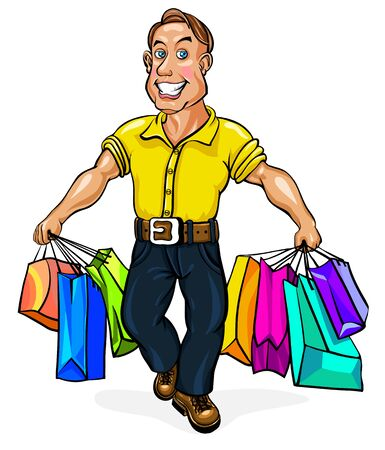 spectacled: Happy man spectacled with packages in hand. Vector illustration