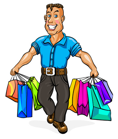 go shopping: A cheerful man carries shopping bags. Vector illustration