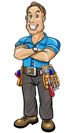 snowwhite: Builder man with snow-white smile standing with hands clasped, vector illustration Illustration