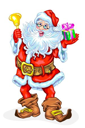 Santa Claus with a bell and a gift in a box. Vector illustration