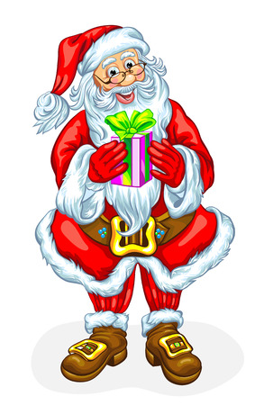 Santa Claus with a gift in a box. Vector illustration