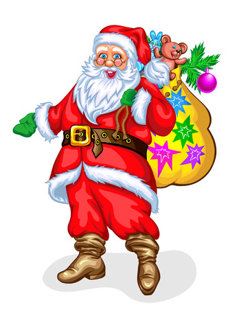 nick: Santa Claus with toy bag. Vector illustration