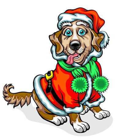 Dog in the image of Santa Claus. Christmas vector illustration