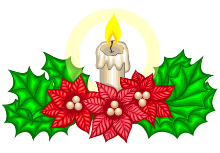 Christmas decoration with fir branches and candle. Merry Christmas and Happy New Year vector illustration illuminated by candle light Illustration