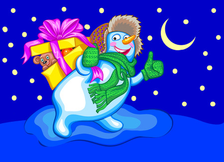 Funny snowman with gift. Christmas vector illustration
