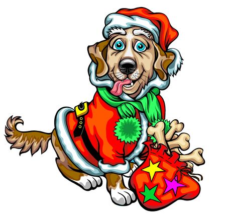 Dog with Christmas gifts for dogs. Christmas vector illustration