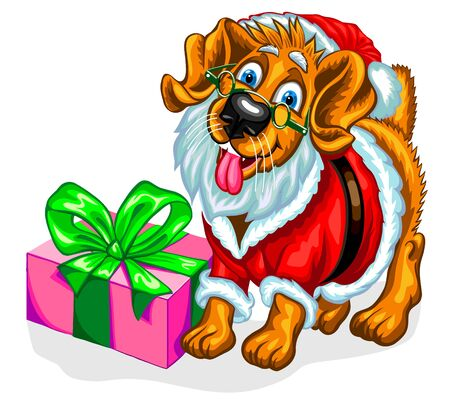 Dog with Christmas gifts in the image of Santa Claus. Christmas vector illustration