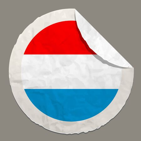 luxembourg: Luxembourg flag symbol on a paper label Illustration