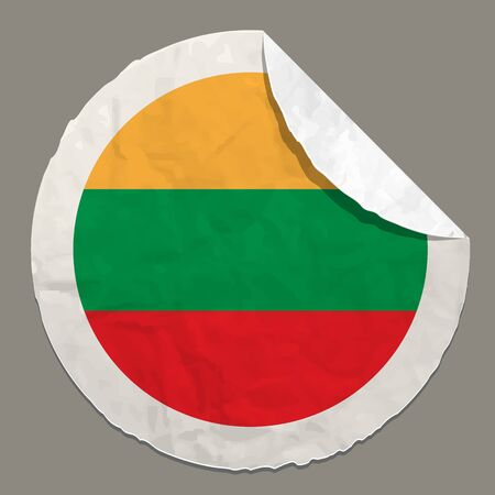 lithuania: Lithuania flag symbol on a paper label Illustration