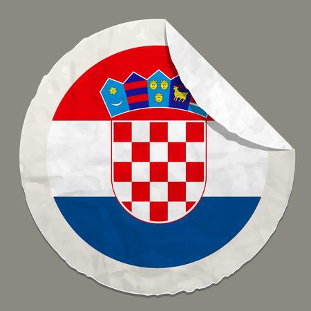 bandera de croacia: símbolo Bandera de Croacia en una etiqueta de papel