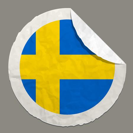 sweden flag: Sweden flag symbol on a paper label