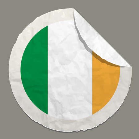 ireland flag: Ireland flag symbol on a paper label