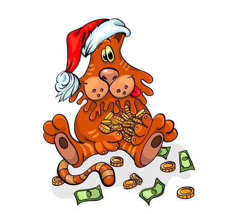 Christmas cat with Santa hat. . Christmas vector illustration