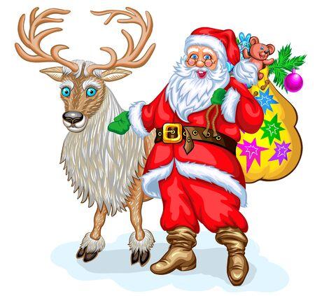 Santa Claus and reindeer. Christmas vector illustration Illustration