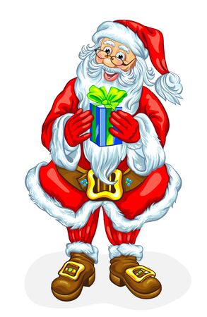 Friendly Santa Claus with gift box. Vector illustration Illustration
