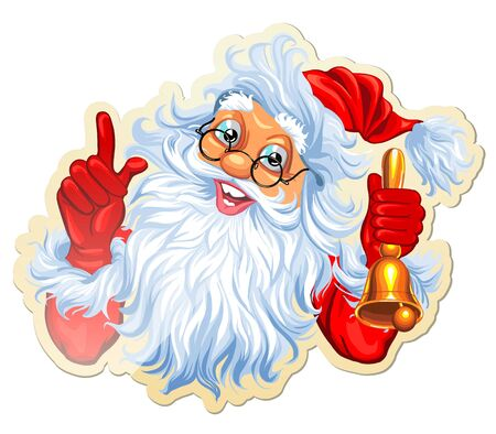 Vector Illustration Christmas Stickers Labels With Santa