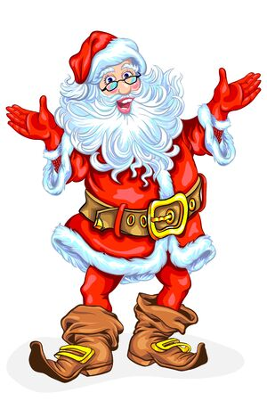 Santa Claus. Funny cartoon and vector isolated character Illustration