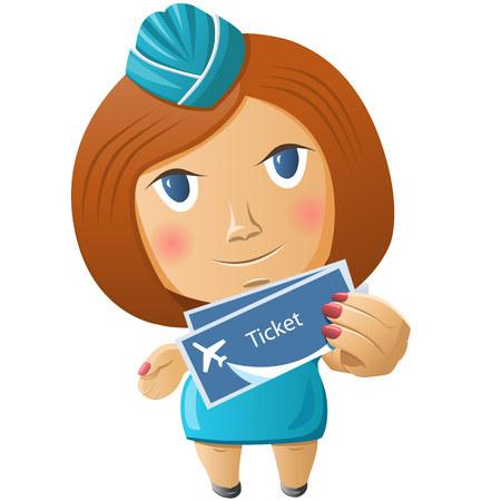 Stewardess with plane tickets