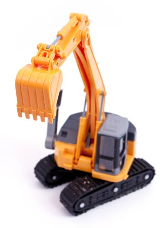 Toy tracked excavator with raised grab