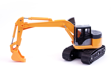 Toy tracked excavator with grab lowered