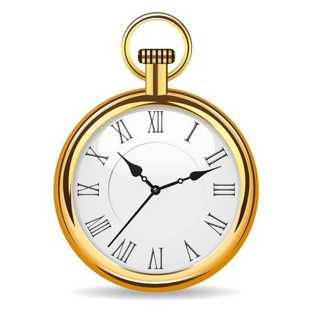 mechanical pocket watch in gold body Illustration