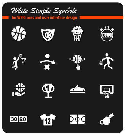 basketball white simply symbols for web icons and user interface design