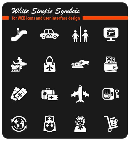 airport white simple symbols for web icons and user interface design